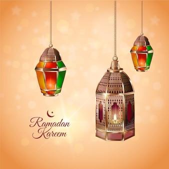 Elemento de ramadan kareem realista