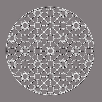 Elemento redondo decorativo árabe con estrellas