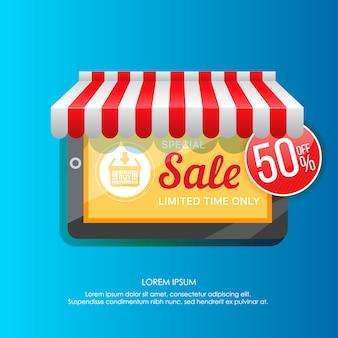 Elemento de tableta promocionando venta especial