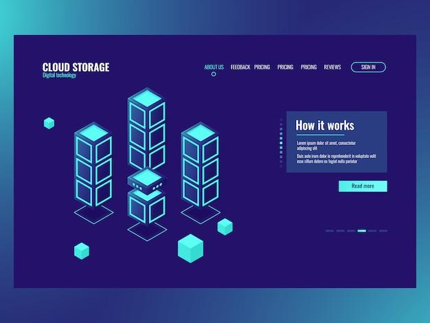 Elemento de tecnología abstracta, almacenamiento y procesamiento de big data, sala de servidores