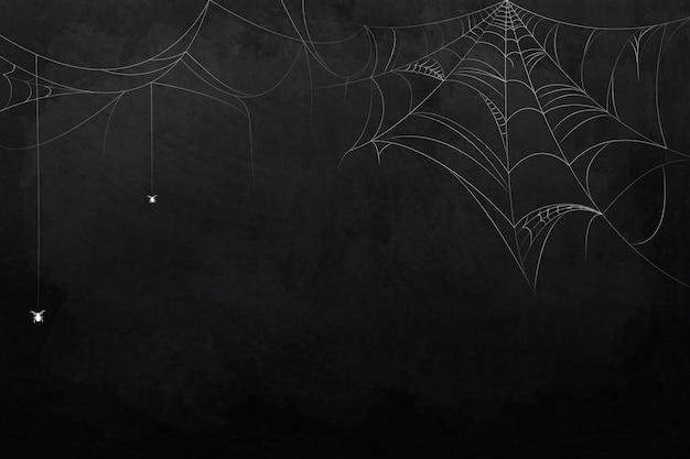 Elemento de tela de araña en plantilla de fondo negro