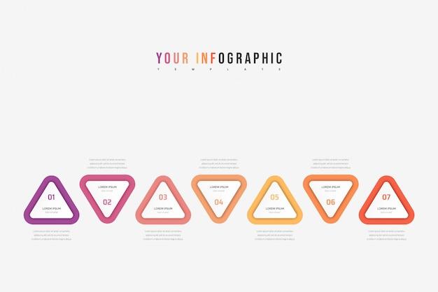 Elemento triángulo infográfico. concepto de negocio con 7 opciones, partes, pasos o procesos.