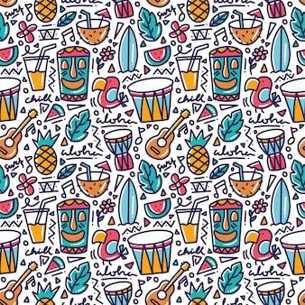 Elemento tropical de hawaii doodle de patrones sin fisuras
