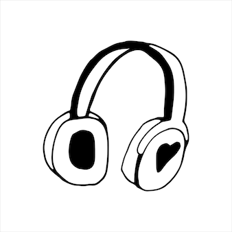 Elemento único de auriculares en conjunto de doodle musical. ilustración de vector dibujado a mano para tarjetas, carteles, pegatinas y diseño profesional.