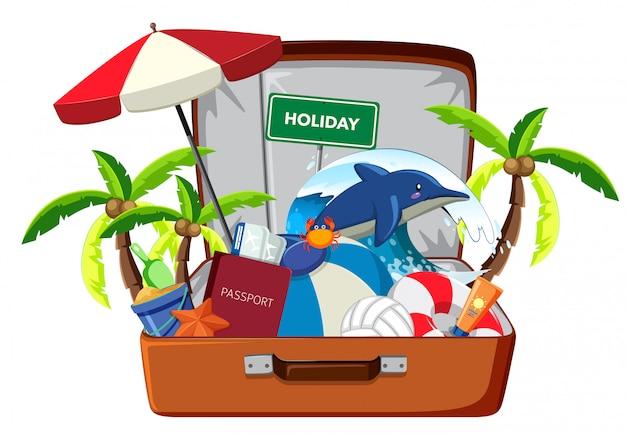 Elemento de vacaciones en el equipaje.