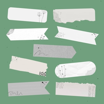 Elemento de vector de cinta washi digital con dibujo de memphis