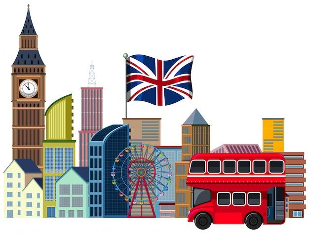 Un elemento de viaje británico en el fondo blanco