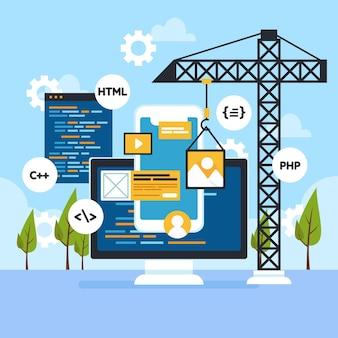 Elementos abstractos de desarrollo de nuevas aplicaciones ilustrados