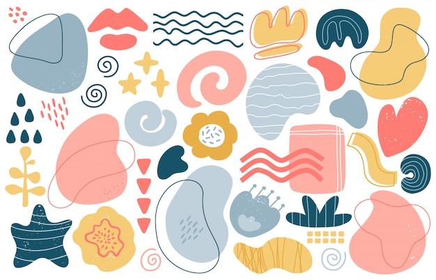 Elementos abstractos del doodle. formas texturizadas dibujadas a mano modernas de moda, conjunto de ilustraciones de elementos de doodle estéticos contemporáneos creativos. gráfico de textura, dibujo moderno