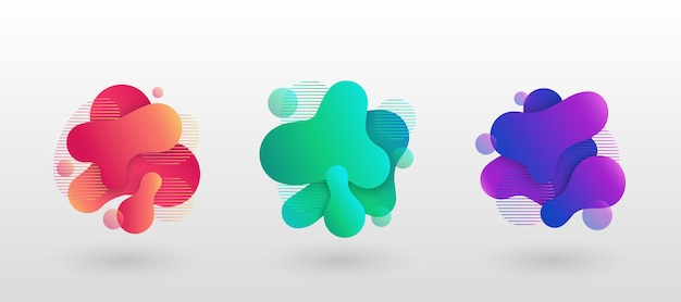 Elementos abstractos geométricos con formas líquidas que fluyen