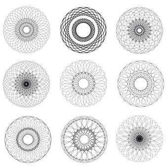 Elementos abstractos del guilloquis del vector en el fondo blanco