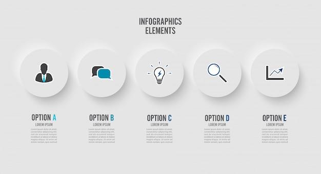 Elementos abstractos de plantilla de infografía gráfica con etiqueta, círculos integrados.