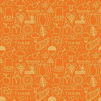 Elementos de acción de gracias sobre fondo naranja. patrón sin costuras