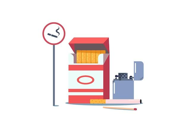 Elementos de adicción a fumar, cartel con cigarrillo y humo, caja, encendedor y fósforo
