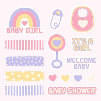Elementos adorables del libro de recuerdos de la ducha del bebé