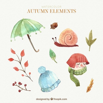 Elementos adorables de otoño con estilo de acuarela