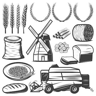 Elementos de agricultura vintage con espigas de trigo coronas de harina de heno pan pasta molino de viento cosechadora aislada