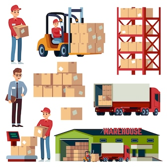 Elementos de almacén. transporte logístico y montacargas, camión de carga de entrega. conjunto de dibujos animados de cargador con cajas