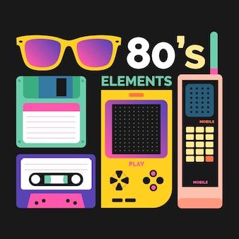 Elementos de los años ochenta con un alto contraste