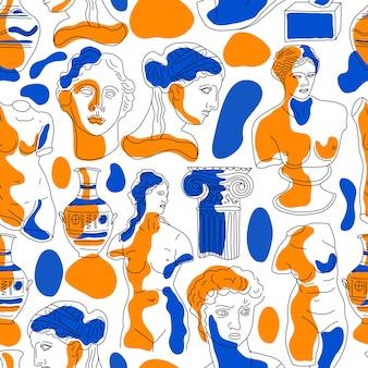 Elementos de la antigua grecia y roma de patrones sin fisuras.