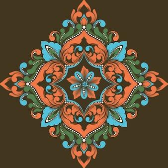 Elementos arabescos abstractos vectoriales en estilo indio mehndi.