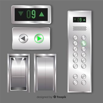Elementos de ascensor moderno con diseño realista