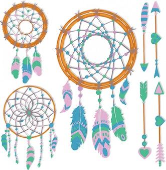 Elementos de atrapasueños dibujados a mano