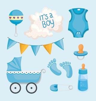 Elementos de baby shower de niño