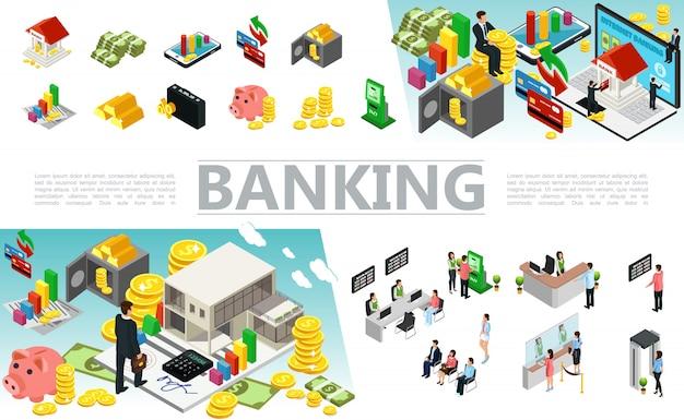 Elementos bancarios isométricos con tarjetas de pago de dinero, caja segura, monedas, barras de oro, cajeros automáticos, trabajadores bancarios y clientes en diferentes situaciones