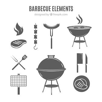 Elementos de barbacoa en color gris
