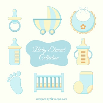 Elementos de bebé amarillos y azules