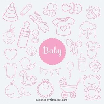 Elementos del bebé esbozados