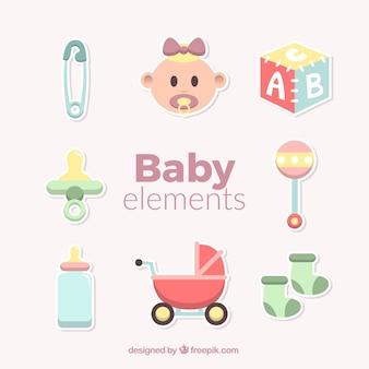 Elementos de bebé fantásticos en diseño plano