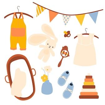 Elementos de bebés doodle. conjunto abstracto de juguetes para niños.