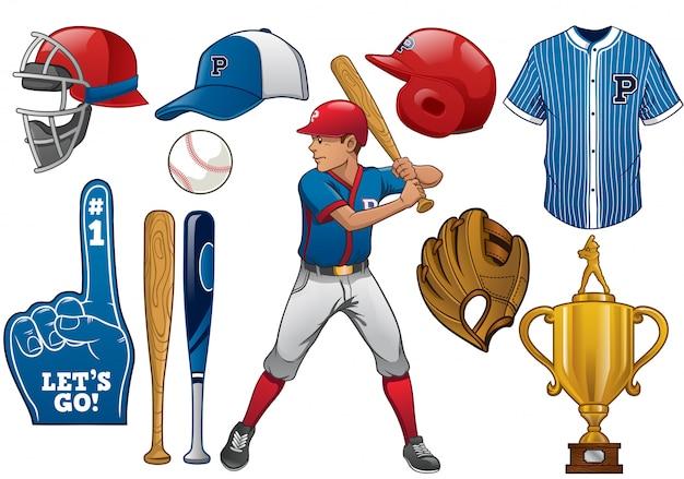 Elementos de béisbol en conjunto