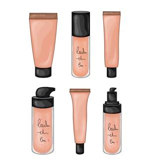 Elementos de belleza con frascos cosméticos.