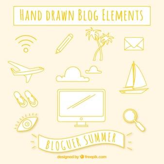 Elementos de blog dibujados a mano en color amarillo