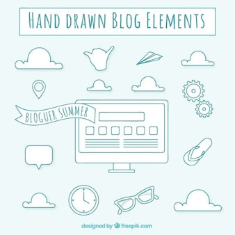 Elementos de blog dibujados a mano en color azul