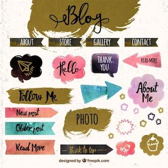 Elementos para blog, dibujados a mano