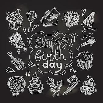 Elementos de boceto feliz cumpleaños en pizarra