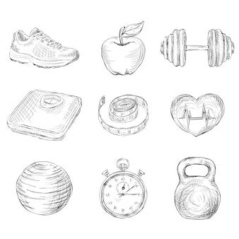 Elementos de boceto de fitness