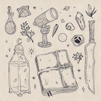 Elementos de boceto sepia retro esotérico