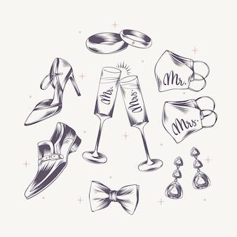 Elementos de boda grabados lineales dibujados a mano