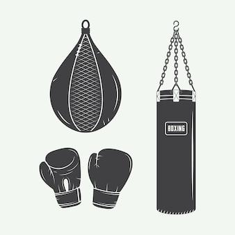 Elementos de boxeo y artes marciales.