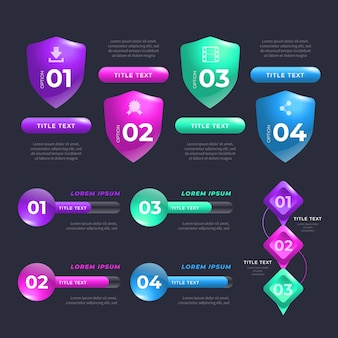 Elementos brillantes realistas de infografía