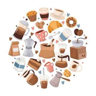 Elementos de café en marco circular.