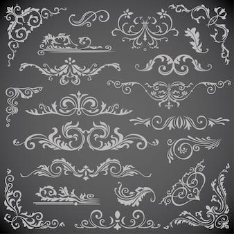 Elementos caligráficos remolino para el diseño del marco
