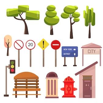 Elementos callejeros de la ciudad