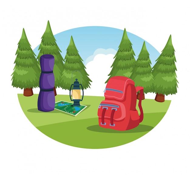 Elementos de camping en un paisaje rural.