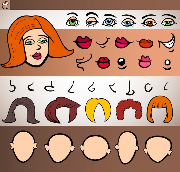 Elementos de la cara de mujer conjunto ilustración de dibujos animados